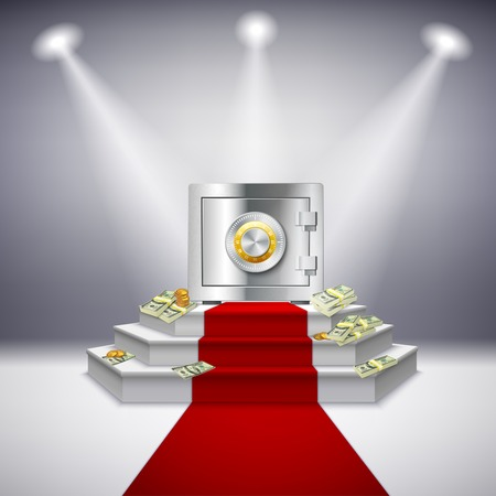 stage door: Realistic money performance with steel safe dollar banknotes on festive stage projectors red carpet isolated vector illustration