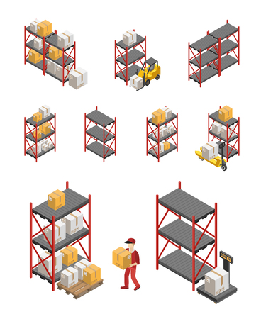 storage box: Isometric set of storage racks equipment and worker carrying box isolated vector illustration Illustration