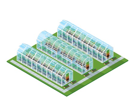 Greenhouses isometric location with eco natural healthy seeding vegetables and plants isolated vector illustration Illustration