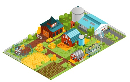 Composition of modern farm rural buildings orchard house plantations isometric images with built structures and plants vector illustration