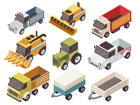harvesters: Farm vehicles isometric set with various type of trucks harvesters tractor and trailers isolated vector illustration