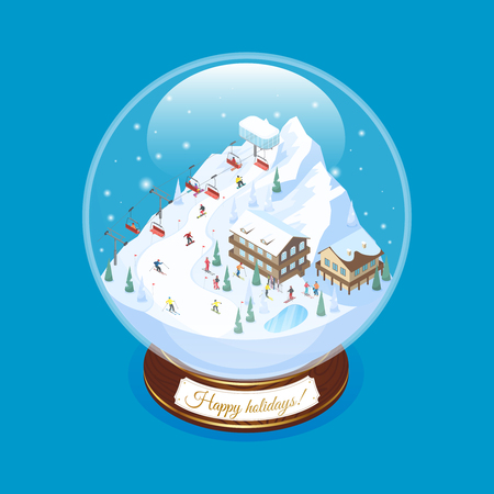 Ski resort snow globe souvenir with scaled down mountain village scenery with decorative piled houses ropeway vector illustration Illustration