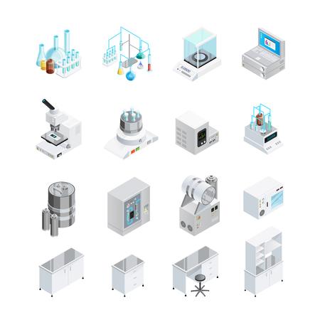 Laboratorium pictogrammen die met zestien geïsoleerde isometrisch beelden van lab instrumenten werkbanken en werkplaats meubelen elementen vector illustratie Stockfoto - 70018837