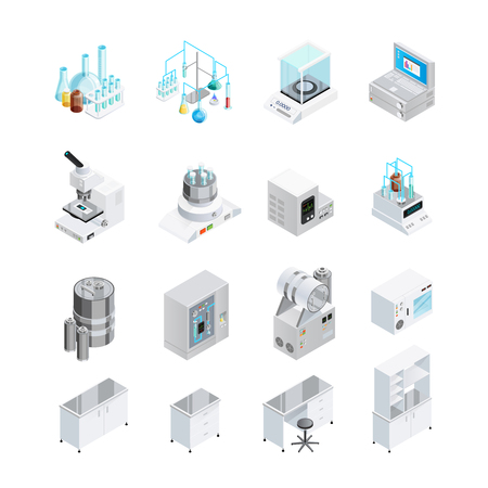 Laboratory icons set with sixteen isolated isometric images of lab tools workbenches and workplace furniture elements vector illustration