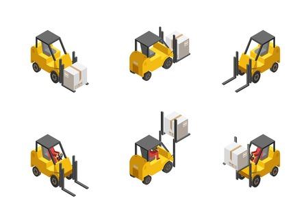 montacargas: Amarillo carretilla elevadora con caja conjunto aislado sobre fondo blanco isométrico ilustración vectorial Vectores