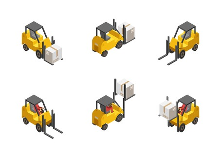 forklift truck: Yellow forklift truck with box set isolated on white background isometric vector illustration