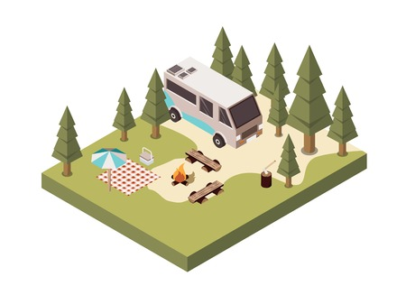 Campsite in forest isometric design with bonfire benches picnic blanket and umbrella log with axe vector illustration Illustration