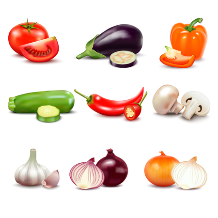 Raw vegetables with sliced isolated realistic icons with pepper eggplant garlic mushroom courgette tomato onion cucumber vector illustration Vetores