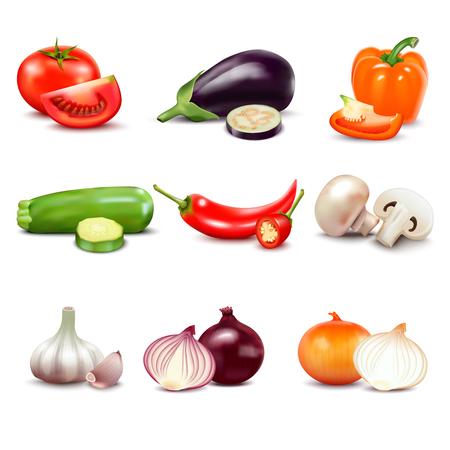 Surowe warzywa z plastrami izolowanych realistyczne ikony z pomidor papryka bakłażan cukinia cebula czosnek grzyby ilustracji wektorowych ogórek Ilustracje wektorowe