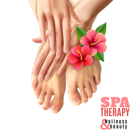 manicure pink: Pedicure and manicure spa therapy salon poster with pink flowers female feet and hands on white background realistic vector illustration Illustration