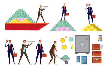 Isolated doodle images set with allusive money pyramids wallets office worker characters raising and carrying money vector illustration Illustration