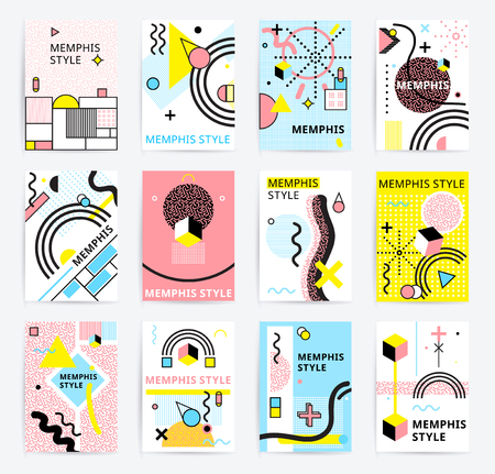 Colorful abstract memphics style posters with geometric figures and lines set doodle isolated vector illustration Иллюстрация