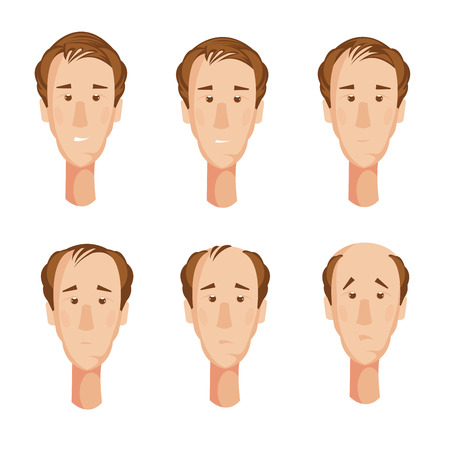 dermatology: Storyboard with six isolated cartoon male character heads suffering from hair loss with unhappy facial expressions vector illustration Illustration