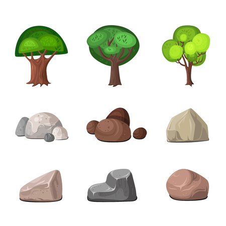 Uberlegen Deciduous Trees And Stones Decoration For Park And Garden Elements Set  Isolated On White Background Flat
