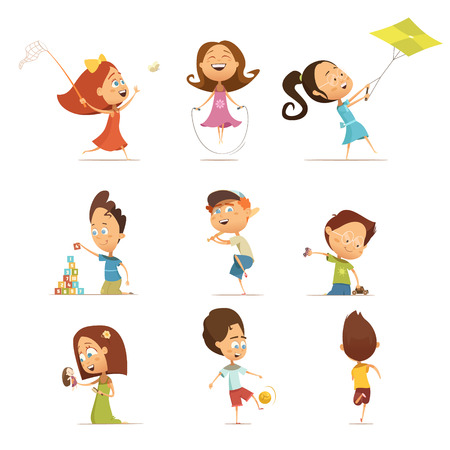 Playing kids cartoon set with kite and football symbols isolated vector illustration