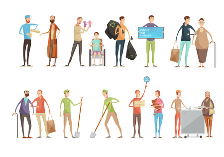men and women: Volunteering people flat characters set with young volunteers helping animals old and disabled people planting trees vector illustration