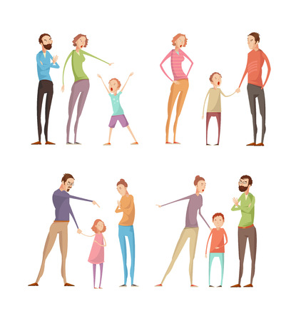 mom dad: Set of four isolated adults abuse children compositions with flat characters of quarreling parents and kids vector illustration
