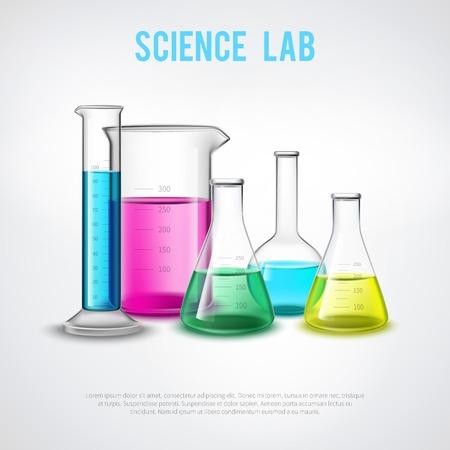 Laborancki materiału skład z kolorowymi cieczami w realistycznych szklanych naczyń chemicznych próbnych tubk wyposażenia płaskiej wektorowej ilustraci