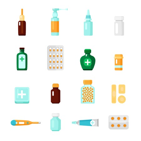 blisters: Medications icon set with different types of drugs and medical products in form of droplets blisters and tablets vector illustration Illustration