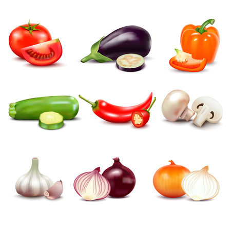 organic peppers sign: Raw vegetables with sliced isolated realistic  icons with pepper eggplant garlic mushroom courgette tomato onion cucumber vector illustration Illustration