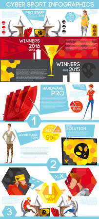 viewers: Esport tournament winners flat infographic poster with hardware equipment cybersport players and growing viewers audience statistics vector illustration
