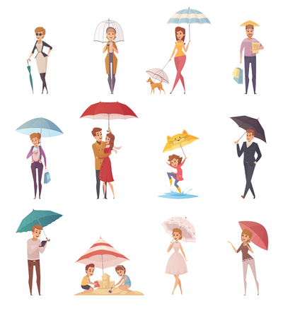 Adults people and children standing under umbrella of different shape and size decorative icons set  flat vector illustration Illustration