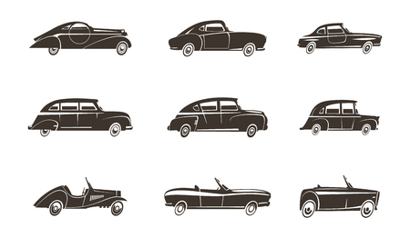 convertible car: Retro cars automotive design black icons collection isolated vector illustration