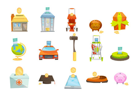 valuable: Money box isolated icons set with conceptual images of various valuable goods with slots for coins vector illustration Illustration