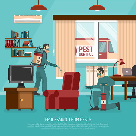 Professional interior pest control service team at work spraying insecticide in living room flat poster vector illustration