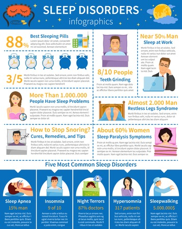 paralysis: Sleep disorders infographics with common sleeping problems paralysis snoring teeth grinding with people characters and alarms vector illustration