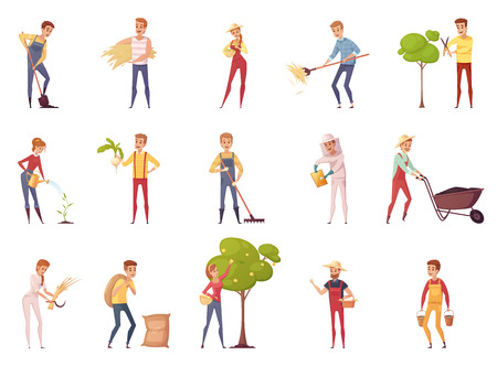 people  male: Farmer gardener cartoon people characters set of isolated young male and female figures with gardening equipment vector illustration