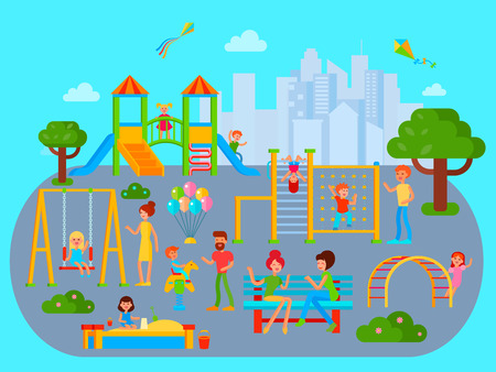 metallic stairs: Playground composition with flat city urban landscape with playing kids teenagers and their parents cartoon characters vector illustration