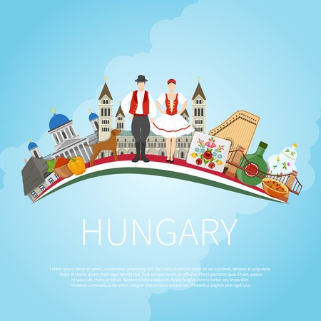 Hungary travel concept with flat composition of traditional folk art architecture buildings and editable text field vector illustration Ilustração