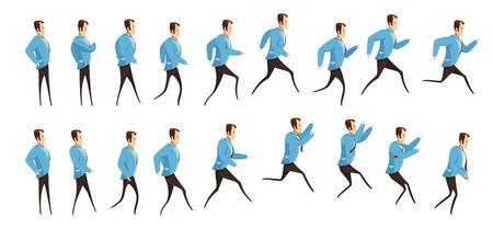 Animatie met frame opeenvolging van rennen en springen man in pak cartoon stijl geïsoleerde vector illustratie