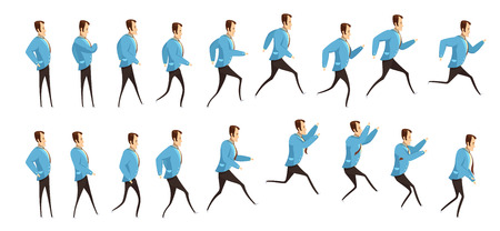 Animation avec cadre séquence de course et sauter homme en costume d'affaires style de dessin animé illustration vectorielle isolée Vecteurs