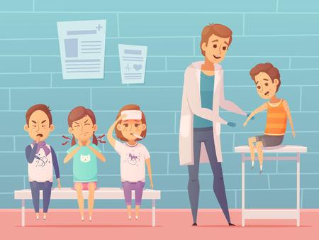 Diferentes enfermedades infantiles visitan composición con personajes de dibujos animados los niños enfermos que tienen cita en los médicos interior de la oficina ilustración vectorial Foto de archivo - 69552952