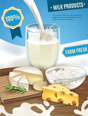 milk cheese: Dairy products cartoon background with milk cheese and butter vector illustration