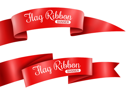 Red ribbons horizontal banners set flat isolated vector illustration