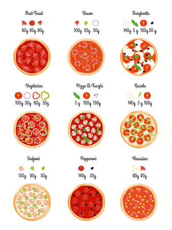 pizza ingredients: Make create pizza flat technology map with pizza selection slices with indication of ingredient feed weight vector illustration