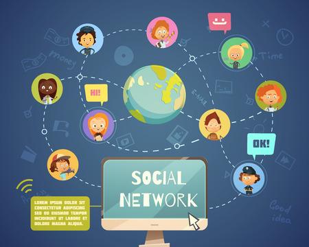 Grupo de personas de redes sociales de diferentes ocupaciones con iconos avatar chico diseñados en estilo de dibujos animados ilustración vectorial