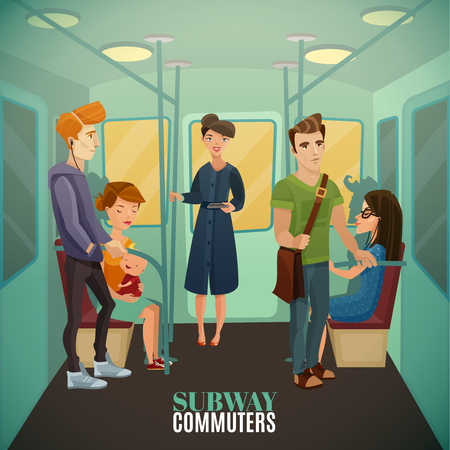 listening to music: Subway commuters background with underground travel and train interior flat vector illustration