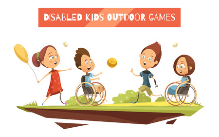 Outdoor games of disabled kids on wheelchair and with prosthetic limbs retro and cartoon style vector illustration Stock Illustratie