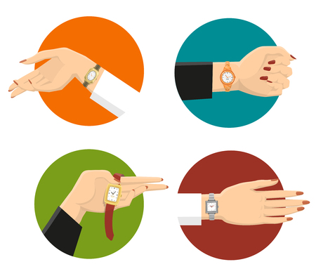 pointer emblem: Four graceful women hands in colored circles with classic wrist watches on strap flat isolated vector illustration