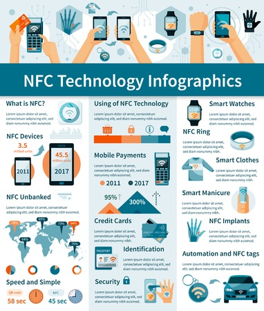 nfc: Infographics with using of NFC technology in digital devices world map charts on light background vector illustration