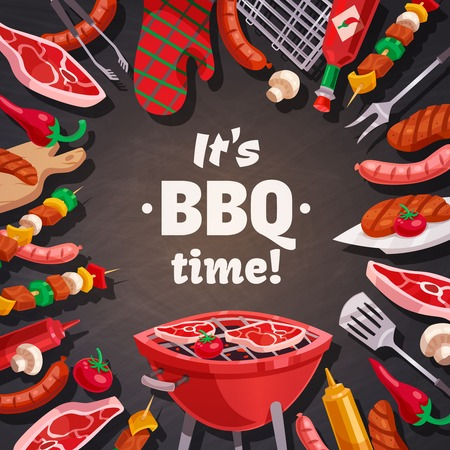 grill meat: Barbecue grill composition with brazier meat and vegetable skewers pot holder and flatware images with text vector illustration Illustration
