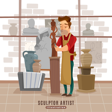 plasticine: Visual plastic arts studio creative process with sculptor carving and modelling work cartoon style abstract vector illustration