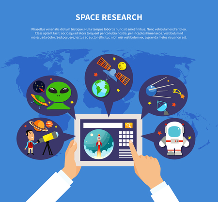 astronautics: Space research concept with UFO and satellites symbols flat vector illustration Illustration