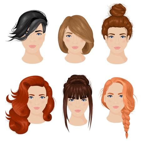 Facile idées de la coiffure mignon pour les cheveux longs 6 collection d'icônes avec petit pain et isolé tresser illustration vectorielle Vecteurs