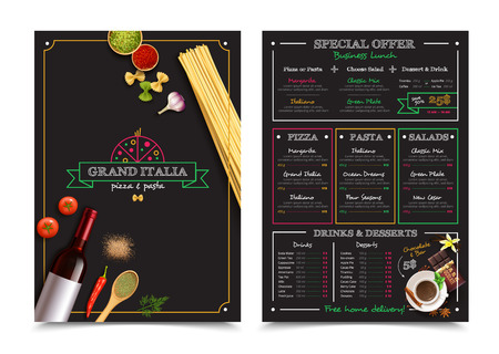 menu restaurant: Italian restaurant menu with special offer for business lunch design elements on black background isolated vector illustration