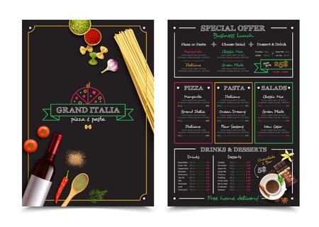 restaurante italiano: menú de un restaurante italiano con oferta especial para los elementos de diseño de almuerzo de negocios sobre fondo negro aislado ilustración vectorial